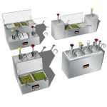 Server´s condiment serving stations. 4 diffe...