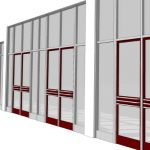 Theatre storefront entry with  3-0 x 8-0 doors. Do...