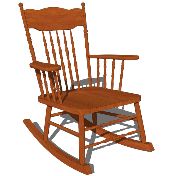 Superieur Traditional Rocking Chair 3D Model