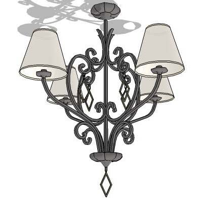 Wrought iron ceiling lamp.