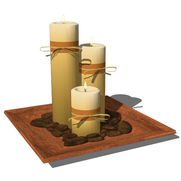 Decorative candles 3D Model FormFonts 3D Models Textures