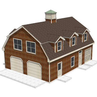House Shed With Gambrel Roof 3d Model Formfonts 3d