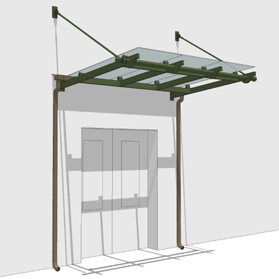 Small Glass Entrance Canopy 3d Model Formfonts 3d Models Textures