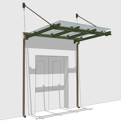 Small Glass Entrance Canopy 3d Model Formfonts 3d Models