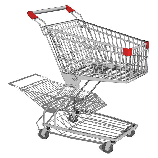 Set of two very low poly shopping carts..