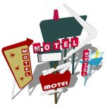 Retro entrance signs for motels.  Ready for you to...