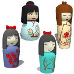 Kokeshi dolls ,approx ht of doll is 20cm