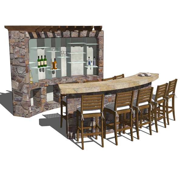 Set of 4 different outdoor furnishings such as a B....
