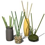 Photoreal bamboo sticks in vases collection.