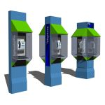 Set of three phone booths.