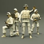 Military figures, various positions.