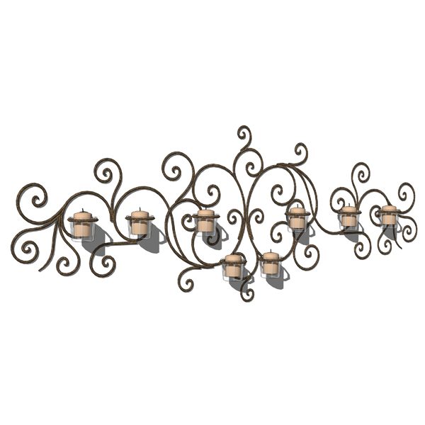 4 different wrought iron wall hung candle holders..