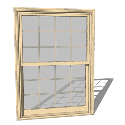 Marvin 3 9 x 5 4 clad ultimate double hung 3d model for Wood clad windows