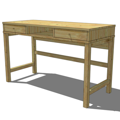Solid Wood Desk From IKEA, 2 Drawers And A Compart.