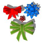 Ribbons and bows for gift wrapping presents.  Each...
