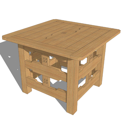 greene and greene garden furniture 3d model - Garden Furniture 3d