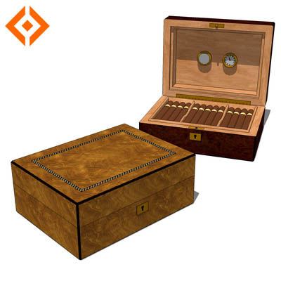 A medium sized humidor constructed from cedar.<....