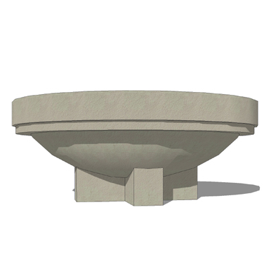 Assortment of circular concrete planters from Waus....