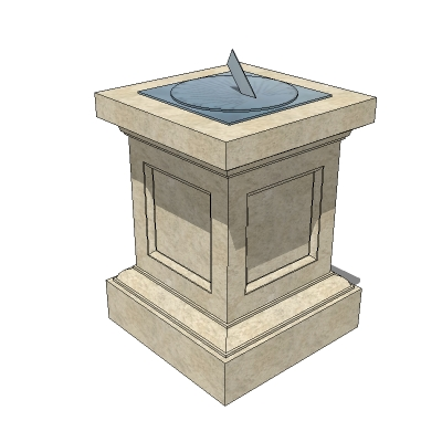 A collection of sundials on stone plinths..