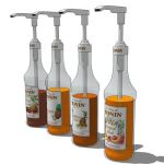 A selection of 4 Monin coffee syrups