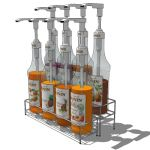 Eight bottle display rack for syrup, sauces or dri...