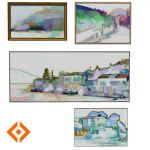Four themed semi-abstract artworks. Each is a dyna...