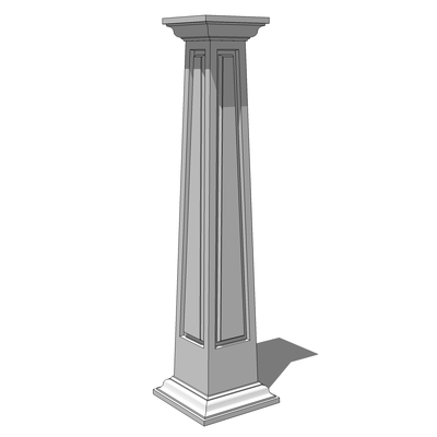 Tapered square panelled crown column 3d model formfonts Crown columns