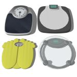 A set of 4 bathroom scales.