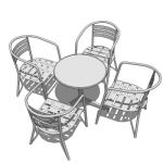 Complete cafe/bistro set with chairs already arran...