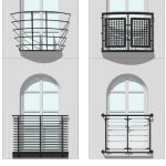 Set of 4 contemporary Juliette Balconies.