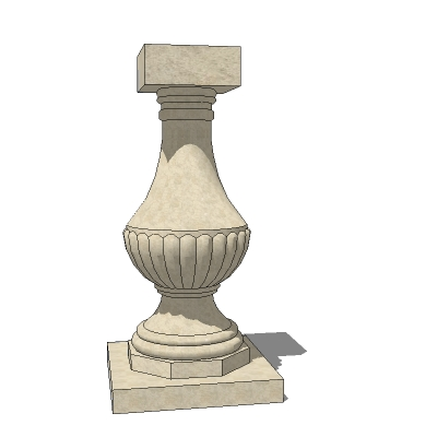 A Georgian baluster plinth and a classical scroll ....