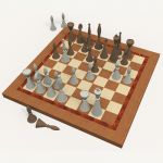 A unique style of chess pieces on a wood board wit...