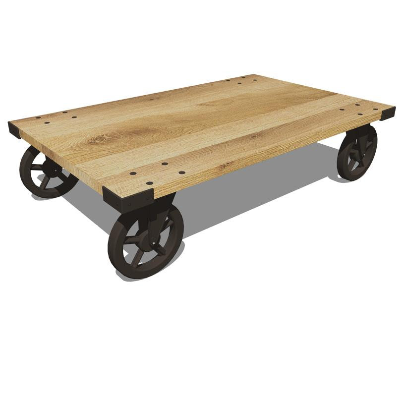 Wheeled Coffee Table 3D Model