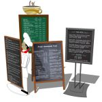 Four menu boards for any eating establishment.