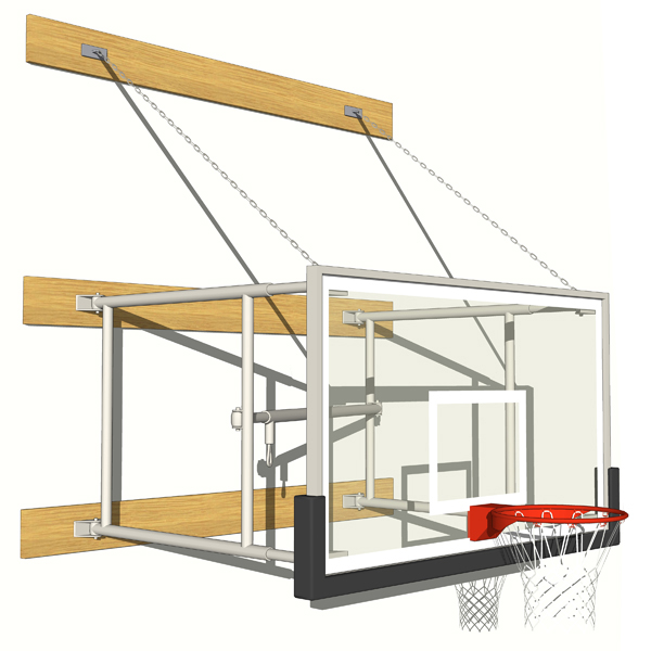Gymnasium Basketball Hoops 3D Model
