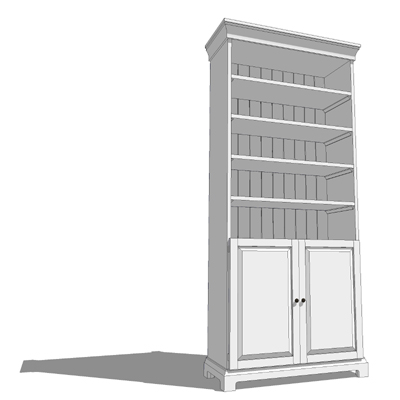 A Pair Of White Bookshelves One With Doors And On