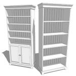 A pair of white bookshelves. One with doors and on...