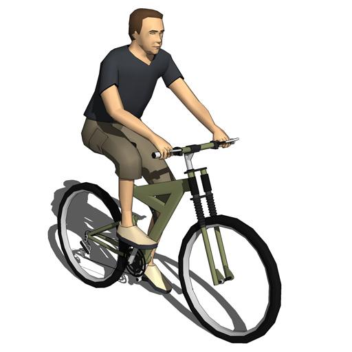 Four low poly bike riders