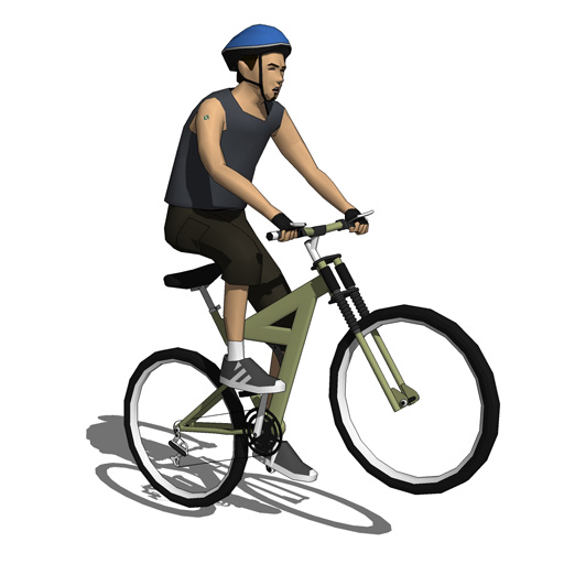 Four low poly bike riders