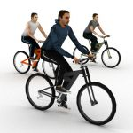 Three full textured cyclists.