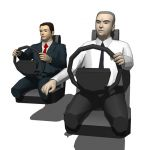 Two, low poly formal adult car drivers.