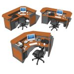 3 different Reception Desks arrangements. Models c...