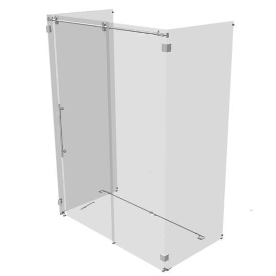 Kinetik three sided rolling shower door d model