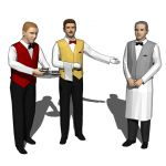 Three elegant male waiters.