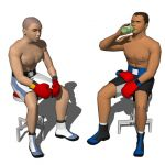 Two boxers waiting the next round.