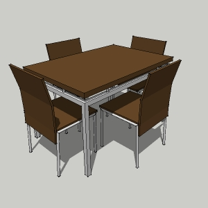 Dining Table And 4 Chairs 3D Model