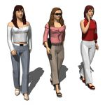 Three walking women in casual outfit.