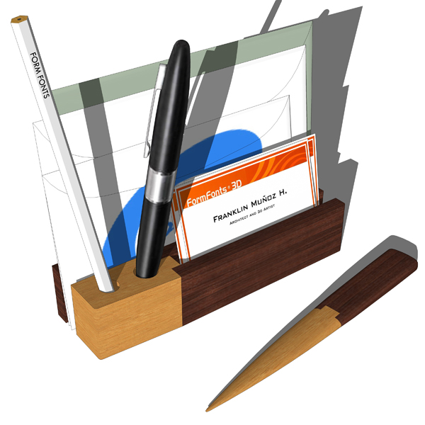 Two Tone wooden desk accesories by Magno. Designed....