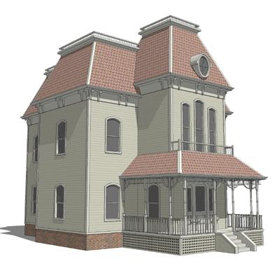 Mansard Roof House 1 3d Model Formfonts 3d Models Amp Textures