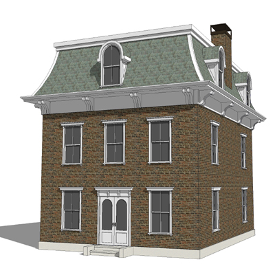 Mansard roof house 2 3d model formfonts 3d models textures for What is a mansard roof